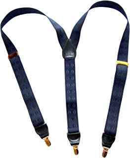 product image for Holdup Brand Elddis Blue Jacquard Y-back Suspenders with No-slip Gold-tone Clips