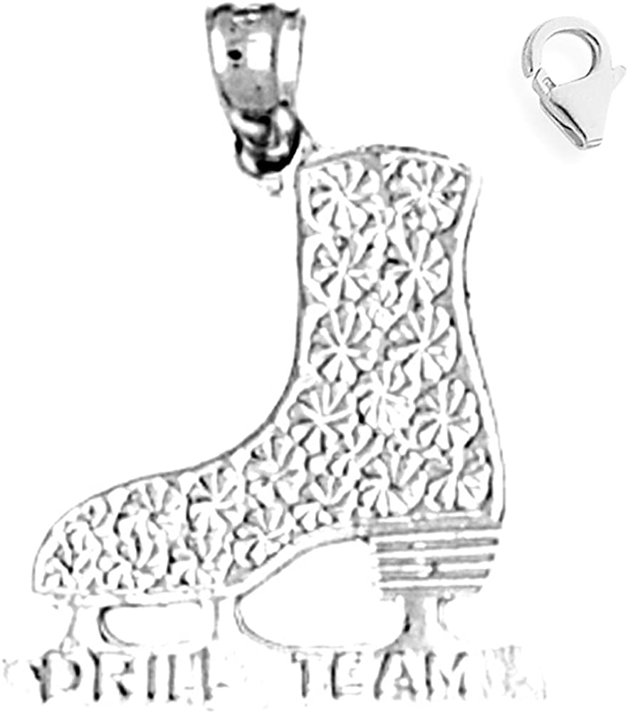 JewelsObsession Sterling Silver 22mm Ice Skate Charm w//Lobster Clasp