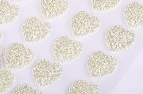 CraftbuddyUS 24 x 17mm Self Adhesive Diamante Double Hearts Gem Pearl Crafts