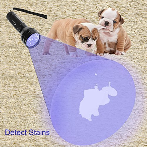 MOOBOM 51 LED UV Flashlight Black Light Pet Urine Odor Stain Detector