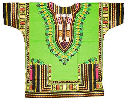 Mens Traditional African Dashiki Shirt (LimeGreen/Fuchsia/Black) (70s Men Clothes)