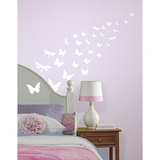 RoomMates Repositionable Childrens Glow In The Dark Wall Stickers Butterfly  And Dragonfly Part 23