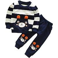 SMARTLADY 2-5 años Niño Niña Oso Rayado Patrón Tops + Pantalones Otoño/ Invierno Ropa Conjuntos