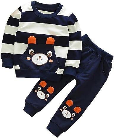 Smartlady 2-5 años Niño Niña Oso Rayado Patrón Tops + Pantalones ...