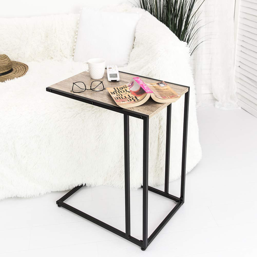 C-Hopetree Snack Sofa Side C-Shaped Small End Living Room Coffee Table Laptop Modern Vintage Timber Look Metal Frame