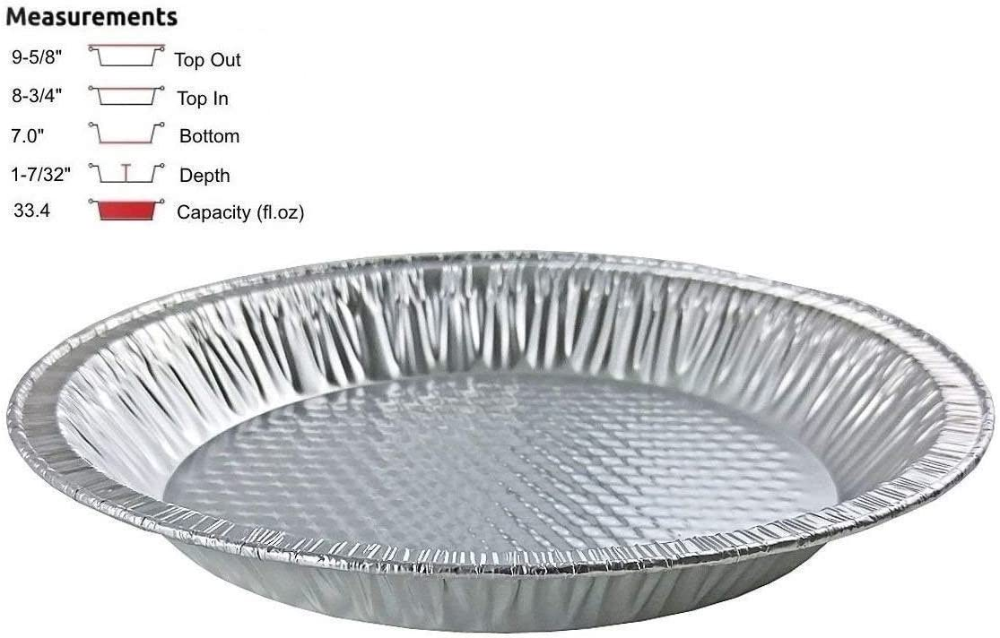 """Handi-Foil 10"""" (Actual Top-Out 9-5/8 Inches - Top-In 8-3/4 Inches) Aluminum Foil Pie Pan - Disposable Baking Tin Plates (Pack of 25)"""