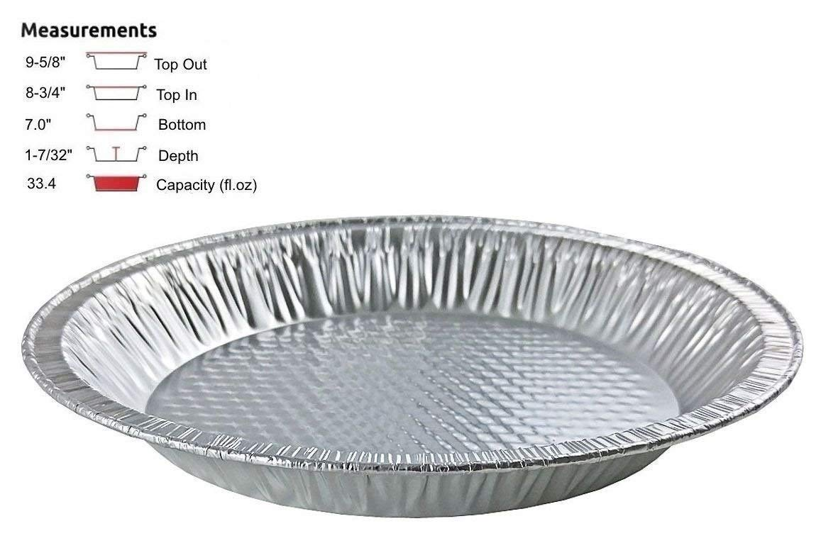 Handi-Foil 10'' (Actual Top-Out 9-5/8 Inches - Top-In 8-3/4 Inches) Aluminum Foil Pie Pan - Disposable Baking Tin Plates (Pack of 100)