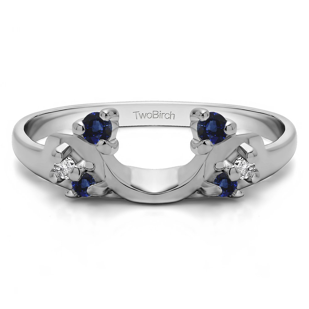Diamond and Sapphire Ring Enhancer in Silver,(G-H,I2 to I3)(0.12Ct) Size 3 To 15 in 1/4 Size Interval by TwoBirch