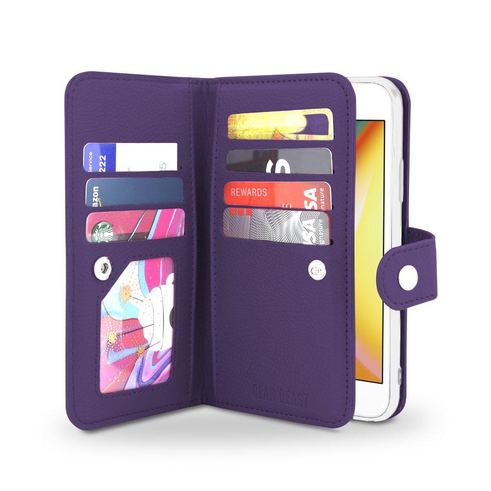 Gear Beast iPhone 8/7 Wallet Case, Flip Cover Dual Folio Slim PU Leather Case 7 Slot Card Holder Including ID Holder Plus Cash/Receipt Pockets For Men and Women Bonus Screen Protector - Purple