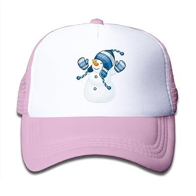 Kid's Boys Girls Christmas Snowman With Blue Hat Youth Mesh Baseball Cap Summer Adjustable Trucker Hat