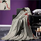 Queen waterproof blanket Retro Style Woman with Hat Playing Card Design Poker Casino Icon Gamble plush blanket Vermilion Beige size:51''x31.5''