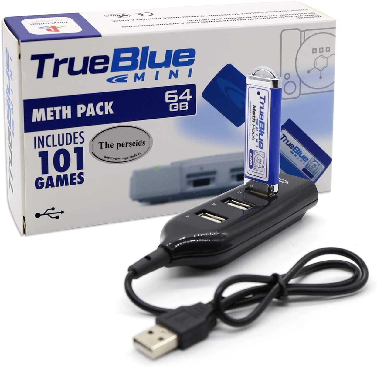 The perseids True Blue Mini Meth Pack USB Flash Drives 64GB Game Memory Stick with 4-Port Hub for Playstation Classic - Includes 101 Games (Meth Pack)