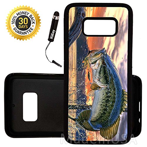 Custom Galaxy S8 Case (Pro Fishing Bass Mouth) Edge-to-Edge Rubber Black Cover Ultra Slim | Lightweight | by Innosub