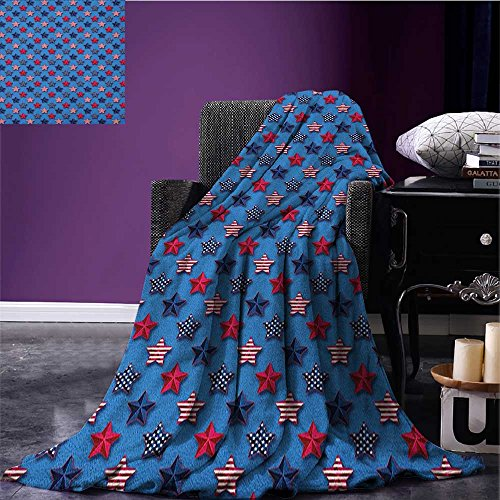 4th of July cool blanket Stars with American Flag Pattern Stripes with Halftone Shadows Pattern Magenta Indigo Azure Blue size:51
