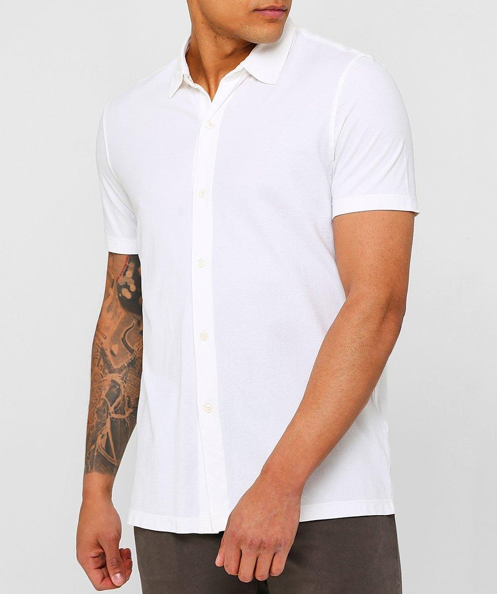 Altea Men's Superfine Crêpe Short Sleeve Baker Shirt White M by Altea (Image #2)