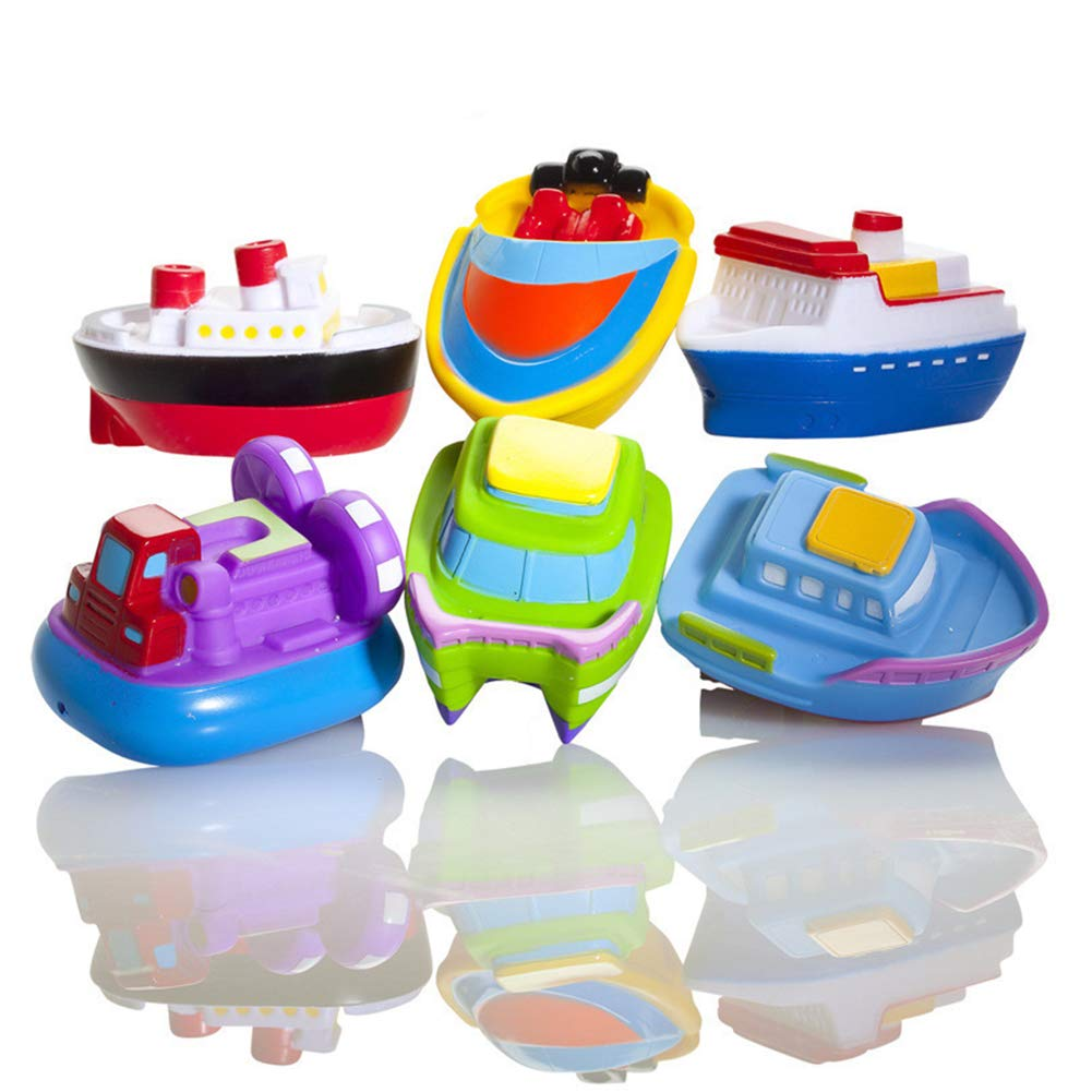 Bath Toy Set Floating Boat Tub Toys Rubber Bath Squirters for Baby Set of 6 Toy Boats Dr.OX