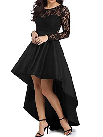 Diandiai Womens Long Sleeve Prom Dress Plus Size Lace High Low Evening Dresses Black 2