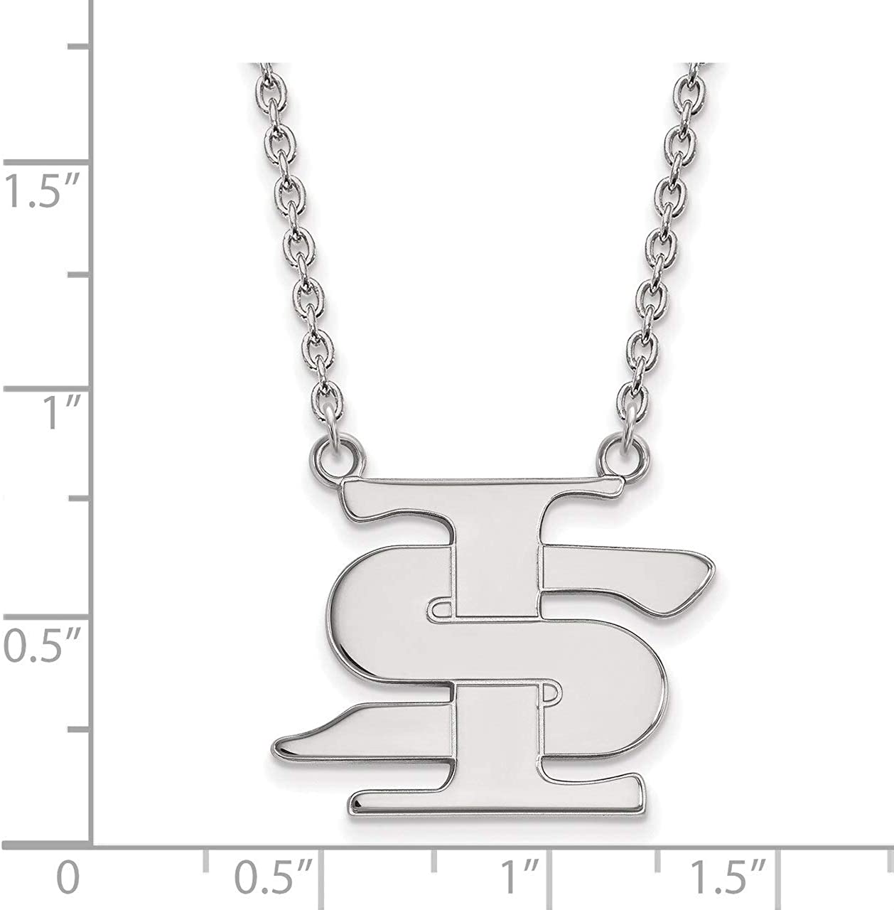 White Sterling Silver Charm Pendant Indiana NCAA University 23 mm 13
