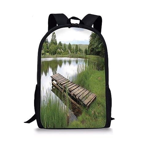 8574de3c8619 Amazon.com: iPrint School Bags Forest,Green Landscape Lake Forest ...
