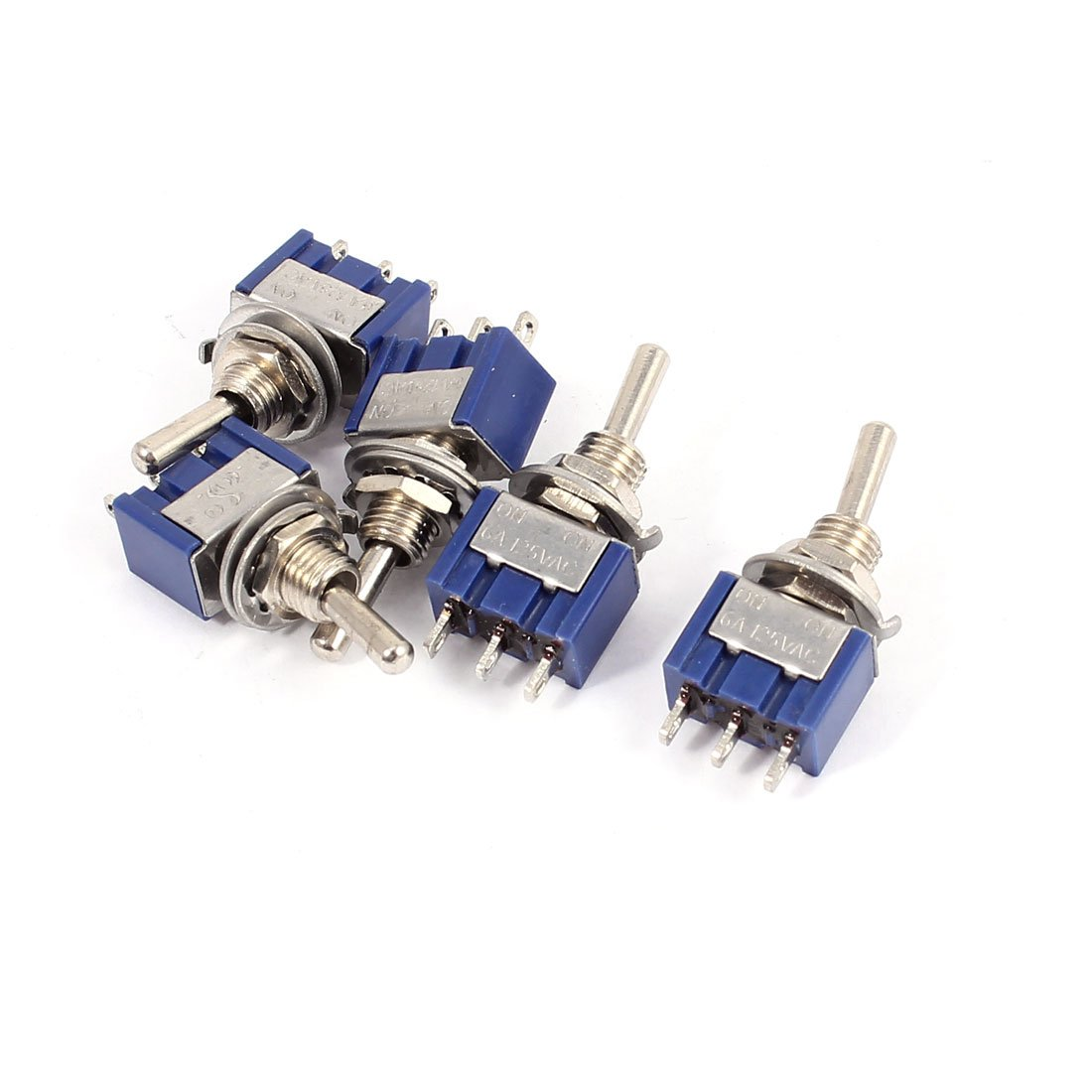 uxcell 10Pcs Latching Rocker Toggle Switch 125V 6A 6P ON-Off-ON MTS-203 Blue