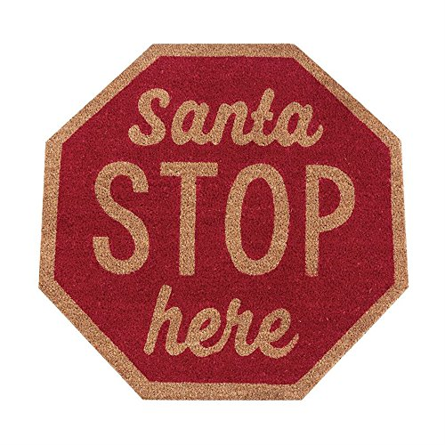 Santa Stop Here Stop Sign Doormat