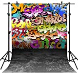 OUYIDA 5X7FT Wall Hip Hop Graffiti Style Pictorial Cloth Photography Background Computer-Printed Vinyl Backdrop PCK02