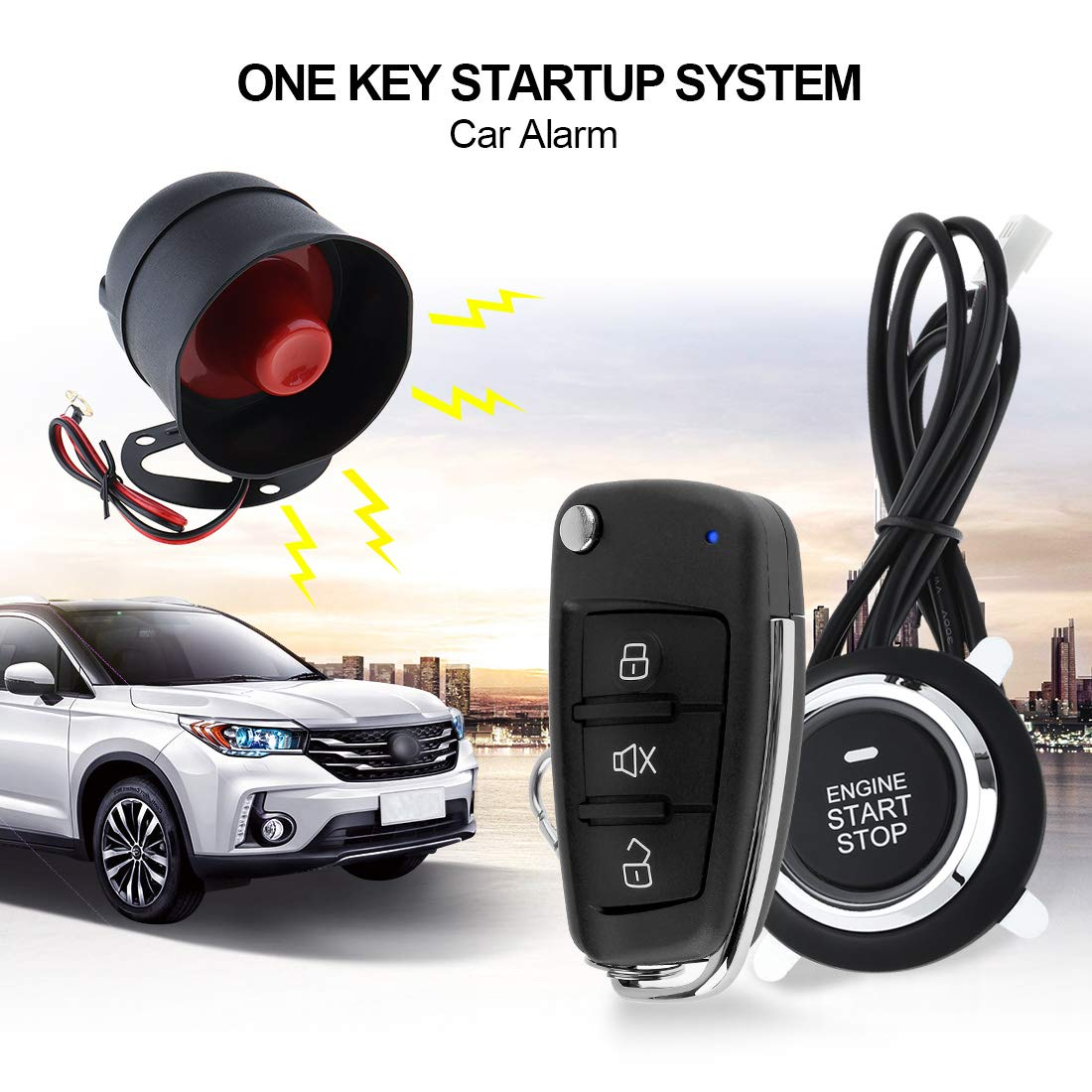 ePathChina Universal Car Alarm System Remote Start Stop Engine System with Auto Central Lock and Keyless Entry 5A with Key 5