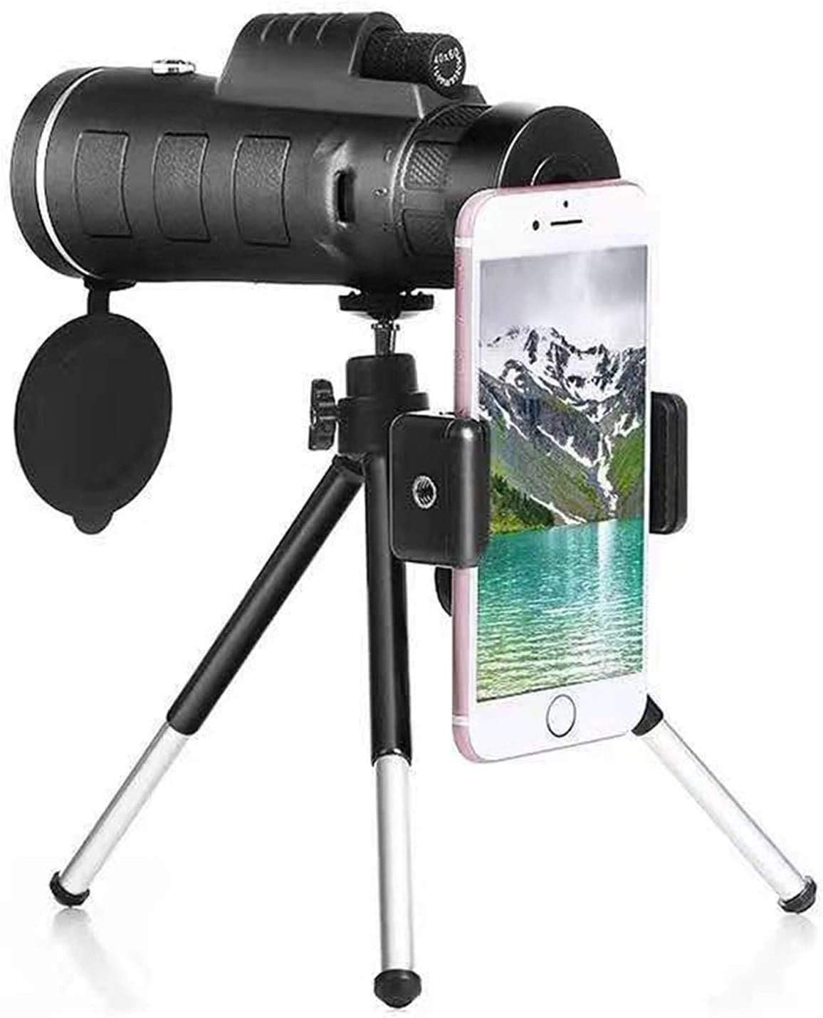 Monocular Starscope Telescope Fit for Phone 40X60 Zoom Fit for Smartphone Monocular Telescope Scope Camera Camping Hiking with Compass Phone Clip Tripod