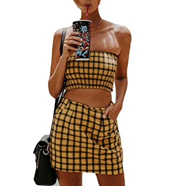 35280a725 Momtuesdays2 Women 2 Piece Outfits Sleeveless Plaid Crop Top Blouse+Short  Skirt Sexy Casual Set (Yellow, L): Amazon.co.uk: Clothing