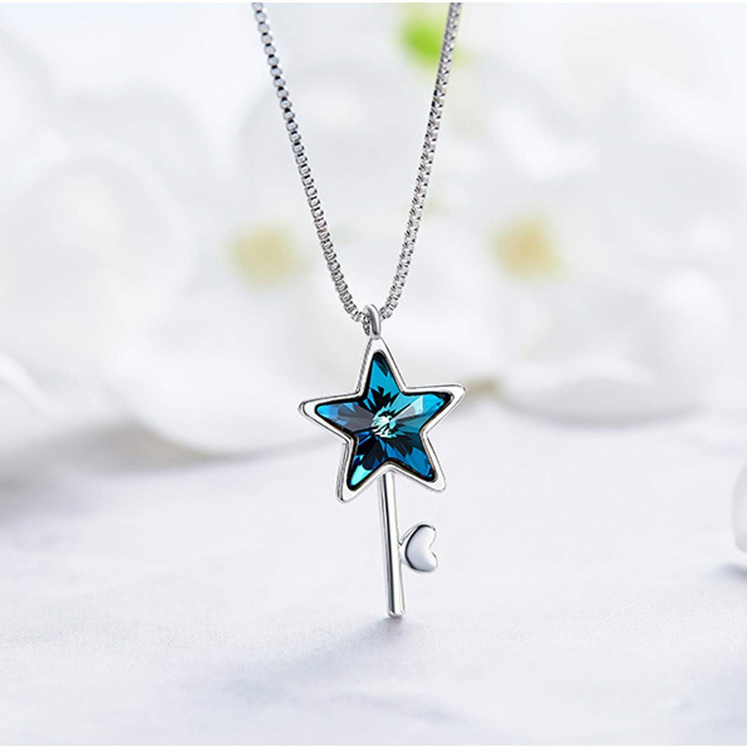 Epinki 925 Sterling Silver Women Necklace Star Pendant Women Chain Silver Necklace with Cubic Zirconia