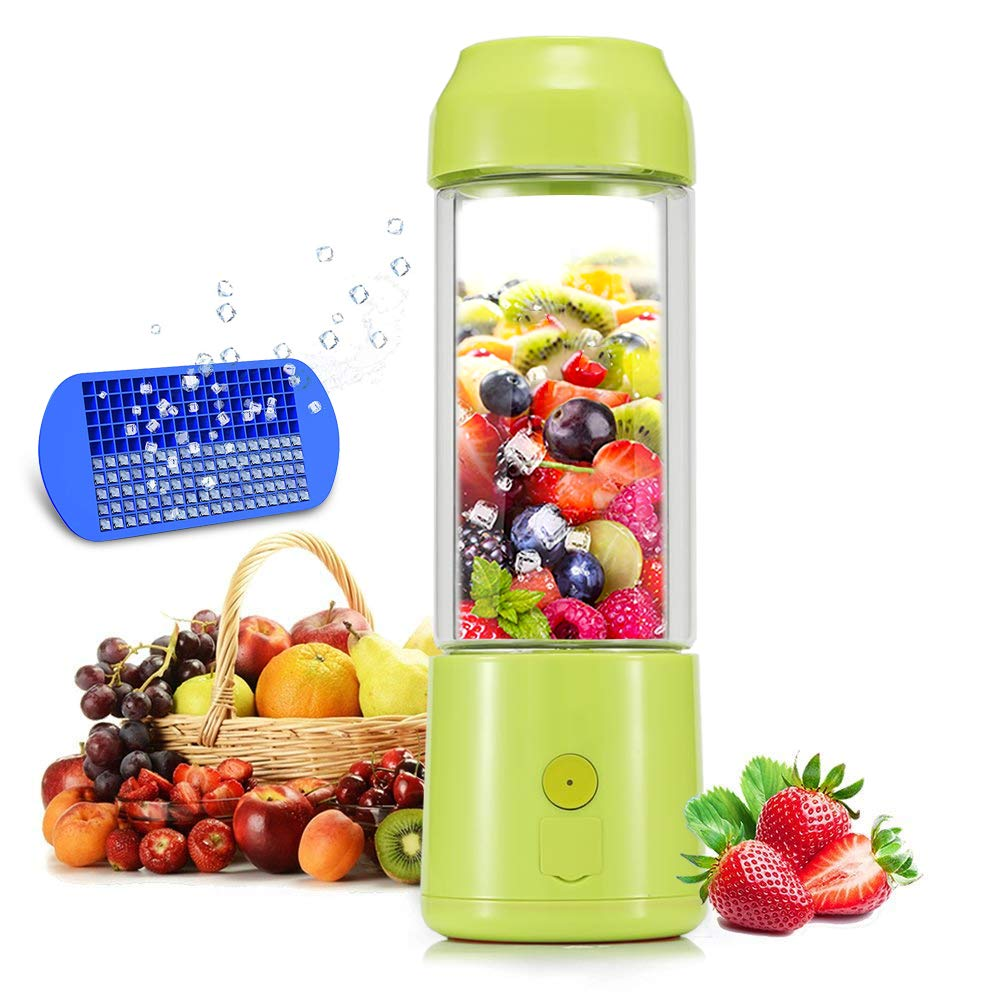 Portable Blender, TMKEFFC USB Juicer Cup - Six Blades in 3D, 4000mAh Rechargeable Battery, 480ml Fruit Mixing Machine with Power Bank, Ice Tray(FDA BPA Free)