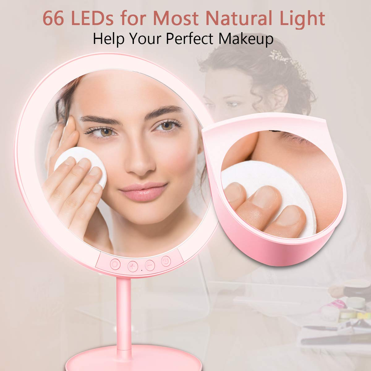 Lighted Makeup Mirror, Morpilot Vanity Dressing Table Mirror with 66 LEDs,3 Colors Light Adjustment 7 Brightness,Tabletops Cosmetic Mirror,7X Magnifying Travel Make Up Mirror,USB Charging,120°Rotation