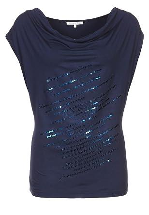 Anna Field T-Shirt Damen in Schwarz, Blau, Rot o. Taupe, Top edel mit  Pailletten und ohne Ärmel, Oberteil mit Wasserfallausschnitt in festlich    ... e42423b682