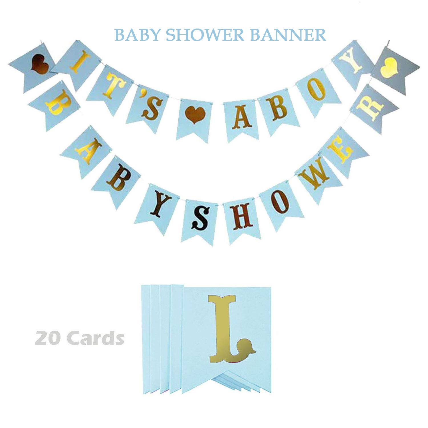 Baby Shower Decorations For Boy, Welcome Baby Party Decoration,Its a Boy Baby Shower Baby Shower Party Decoration With Boy Foil Letter Balloons,Flower Pom Poms,Paper Lanterns,Tassel(Blue,Gold,Light Blue)