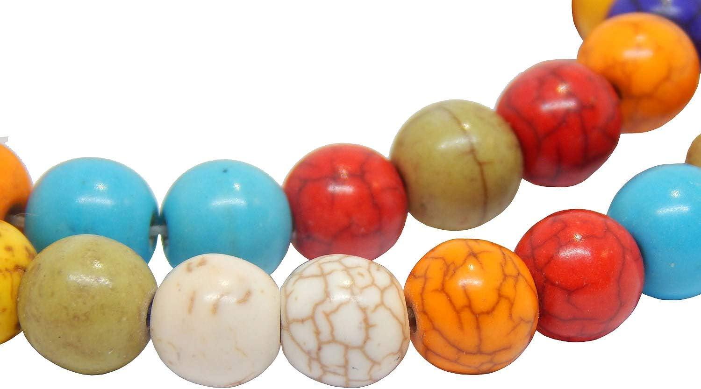 48stk Turquesa Cuentas de Piedra 8mm Piedras Preciosas Strang Mix Color Redondo Abalorios (para Cadena de Pulsera G420