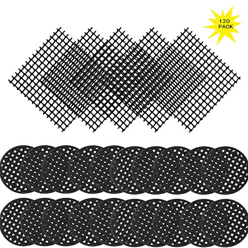 120 Pack Flower Pot Hole Mesh Pad, 100 Pcs 4.5CM/1.8'' Round Bonsai Pot Bottom Grid Mat Mesh and 20 Pcs 2x2 Inch Rigid Polyethylene Garden's Drainage Mesh Hole -