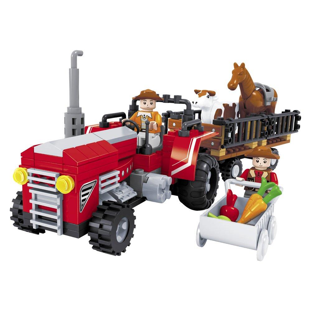 Ausini Juego de construcción Tractor con granjero  remolque piezas ColorBaby