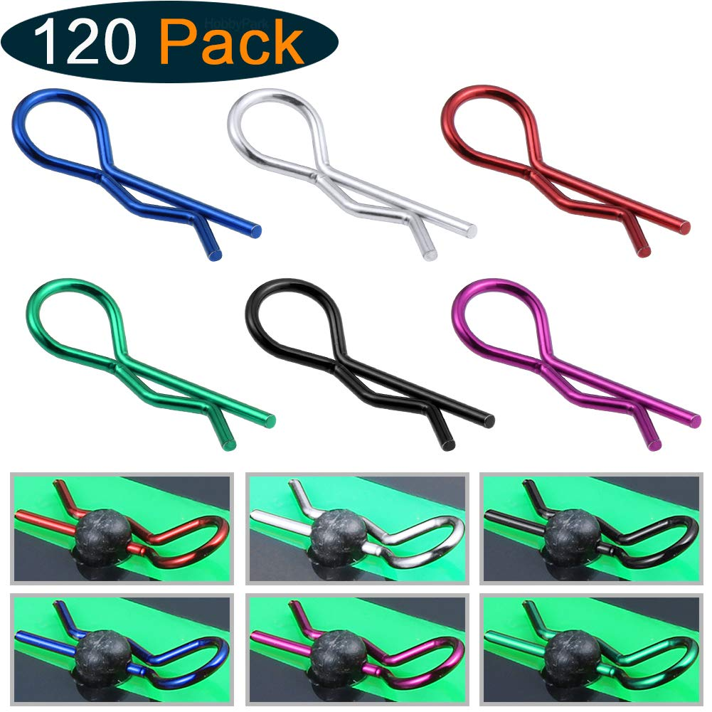 Hobbypark 120-Pack Universal RC Body Clips Pins 6 Colors for Traxxas and All 1/10 Scale Redcat HPI HSP RC Car Parts Truck Buggy Shell Replacement