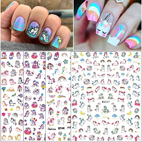 Unicorn Nail Art Stickers for Women Girls Fingernail Decorations 4 Sheets 3D Nail Self-adhesive Nail Decals Rainbow Unicorn Cute Nail Beauty Supplies Nail Art Design DIY Manicure Tips Decor