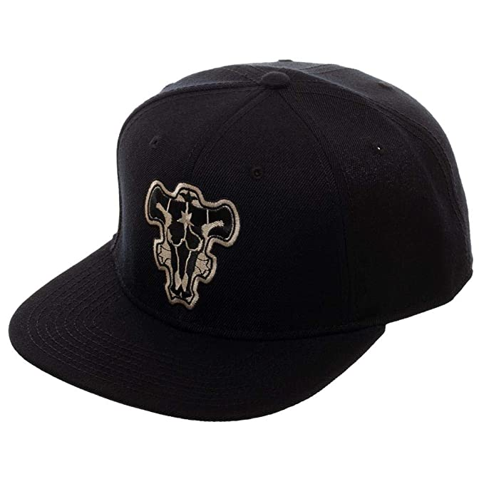 Amazon.com  Black Clover Black Bull Crest Snapback Hat  Clothing 866356fdac4