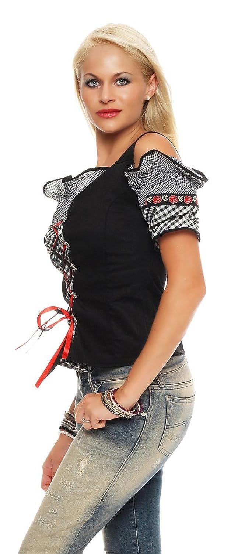 10717 Fashion4Young Dirndlbluse Bluse Trachtenbluse Trachten Oktoberfest  Hemd Lederhose Dirndl (38, Rot-Schwarz): Amazon.de: Bekleidung