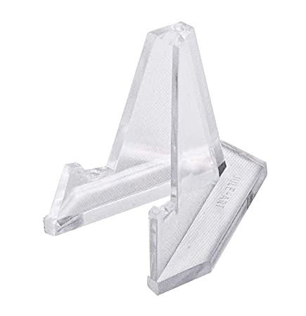 Quantity of 48 Miniature Coin Easels Acrylic Triangle Knife Display Rock Mineral Stand CAB2 Clear