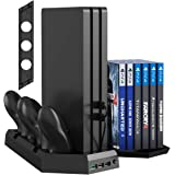 Kootek Vertical Stand for PS4 Slim/Pro/Regular Playstation 4, Controller Charging Station with Cooling Fan Game Storage and D