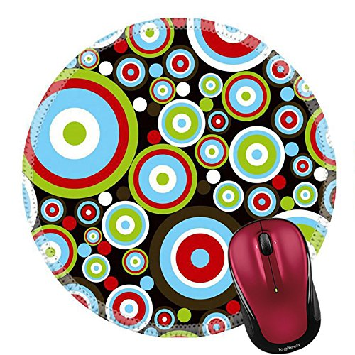 Liili Round Mouse Pad Natural Rubber Mousepad IMAGE ID: 1874490 retro power red blue green circles on (Chocolate Disco Dot)