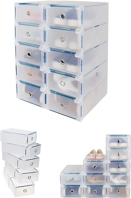 CDGroup 10PCS 31x20x11CM Cajas Almacenaje Caja Contenedor Plegable Plástico Cajón Organizador Transparente para Libros,Alimentos,Joyas,Juguetes,Ropa, Multifuncional para Hogar y Oficina: Amazon.es: Hogar