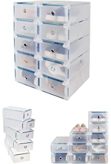 CDGroup [10 Pack] Full Set Box Plastic Folding Drawer Transparent Box Container Shoes Foldable