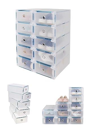 CDGroup 10PCS 31x20x11CM Cajas Almacenaje Caja Contenedor Plegable Plástico Cajón Organizador Transparente para Libros,Alimentos,Joyas,Juguetes,Ropa, ...