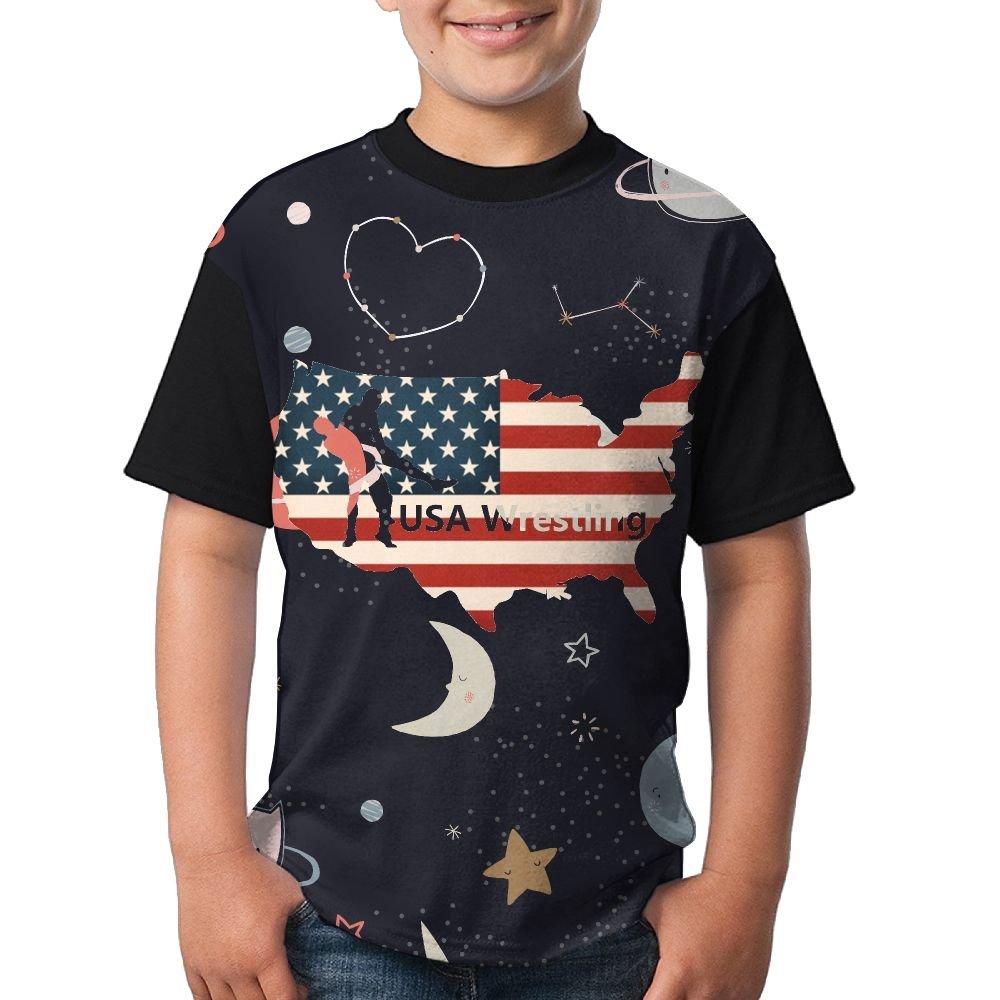 QAZ SHIRT USA Wrestling Youth Popular Short Sleeve T-Shirts