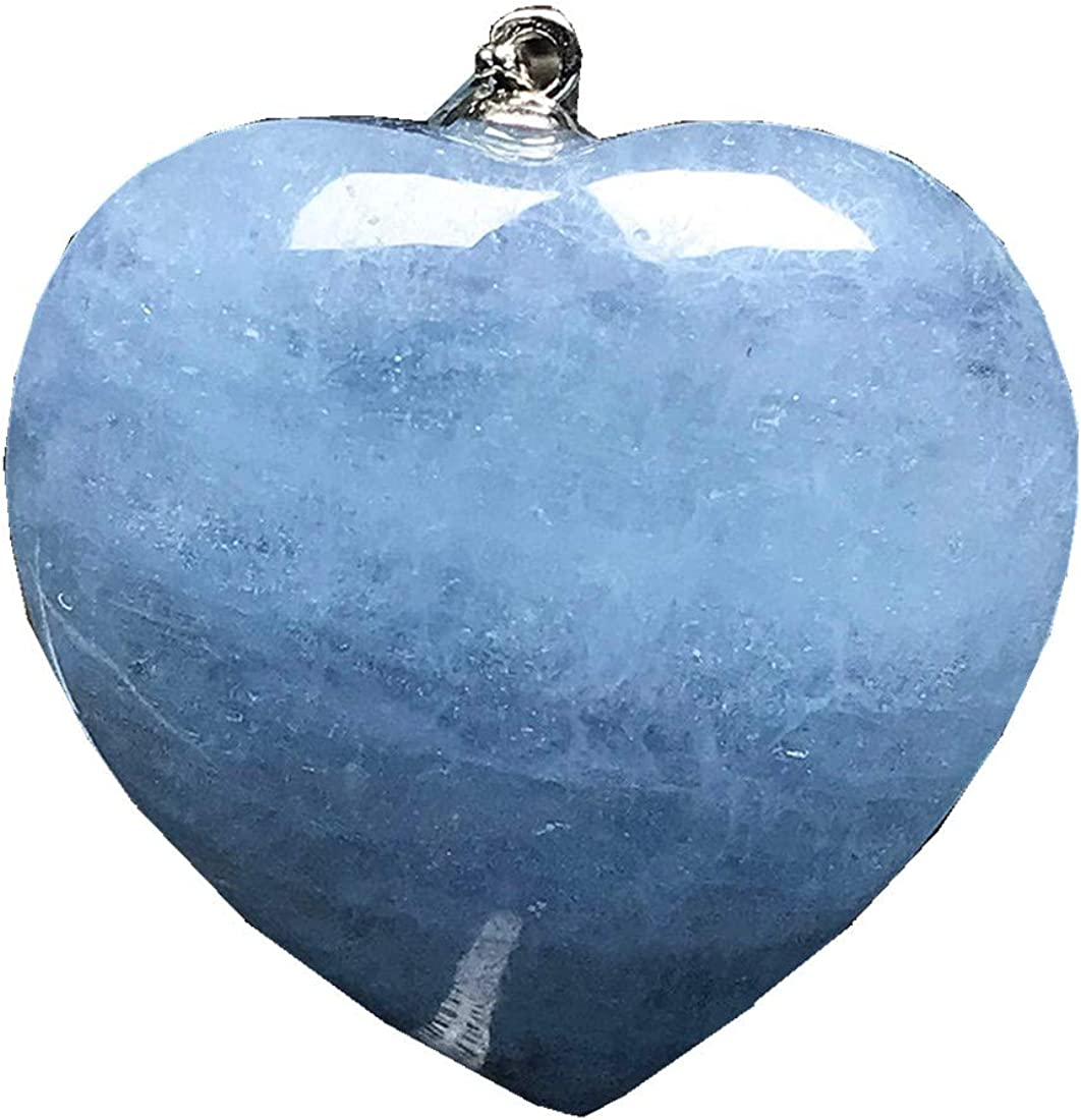 DUOVEKT - Colgante de corazón con cuentas de aguamarina de color azul natural para mujer y hombre, cristal transparente de plata 925, 27 x 10 mm, joyería de piedra