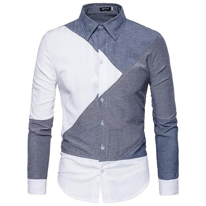 autentica di fabbrica 32429 d137a MISSMAOM Camicia di Abito/Blazer Slim Fit Collo con Botoni ...